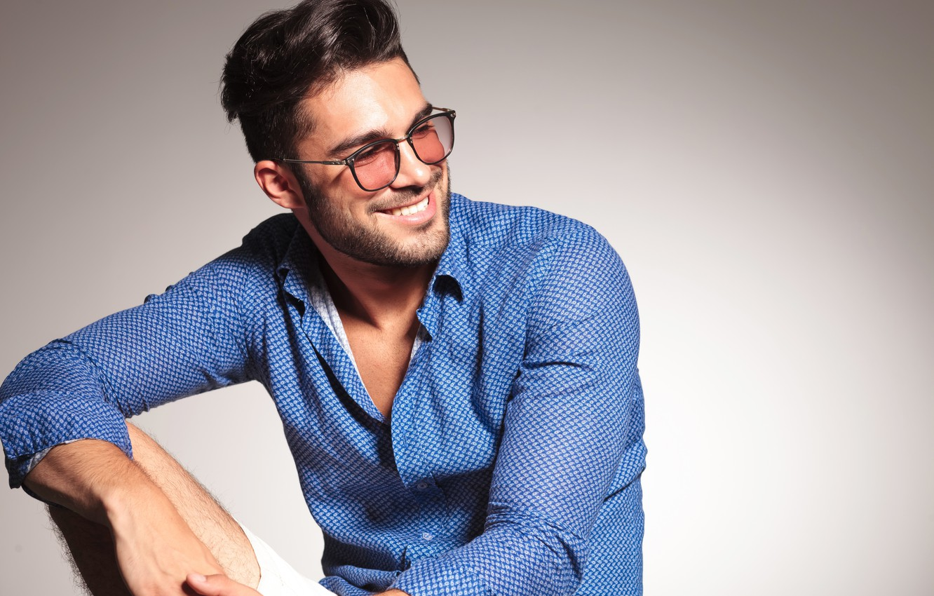 Photo wallpaper look, smile, style, glasses, hairstyle, male, guy, man