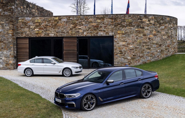 Photo wallpaper white, lawn, BMW, Parking, hybrid, 5, dark blue, 2017, 5-series, G30, sedans, M550i xDrive, M-performance, …