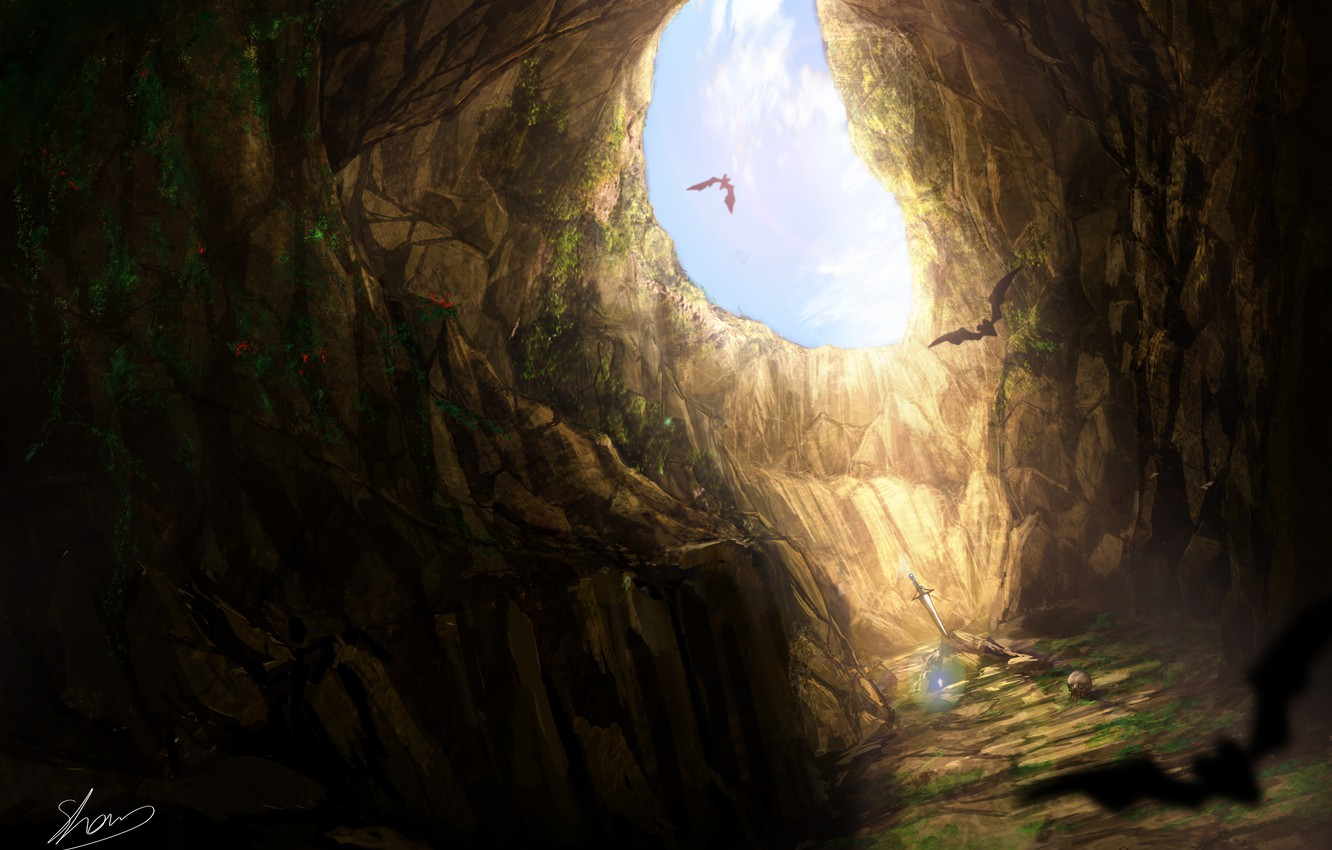 Wallpaper Sword Cave Bats In Stone Images For Desktop Section