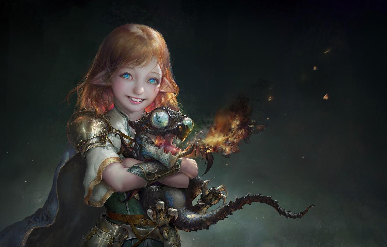 Photo wallpaper elf, fantasy, art, dragon, baby, 안녕 루치아~, NEMO Art