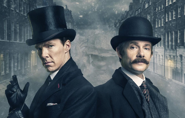 Photo wallpaper fog, London, building, Sherlock Holmes, Martin Freeman, Benedict Cumberbatch, Sherlock, Sherlock BBC, Sherlock Holmes, John …