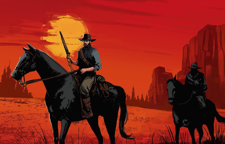 Photo wallpaper Sunset, The game, Art, Rockstar, Concept Art, Cowboy, Western, Game Art, Red Dead Redemption 2, …