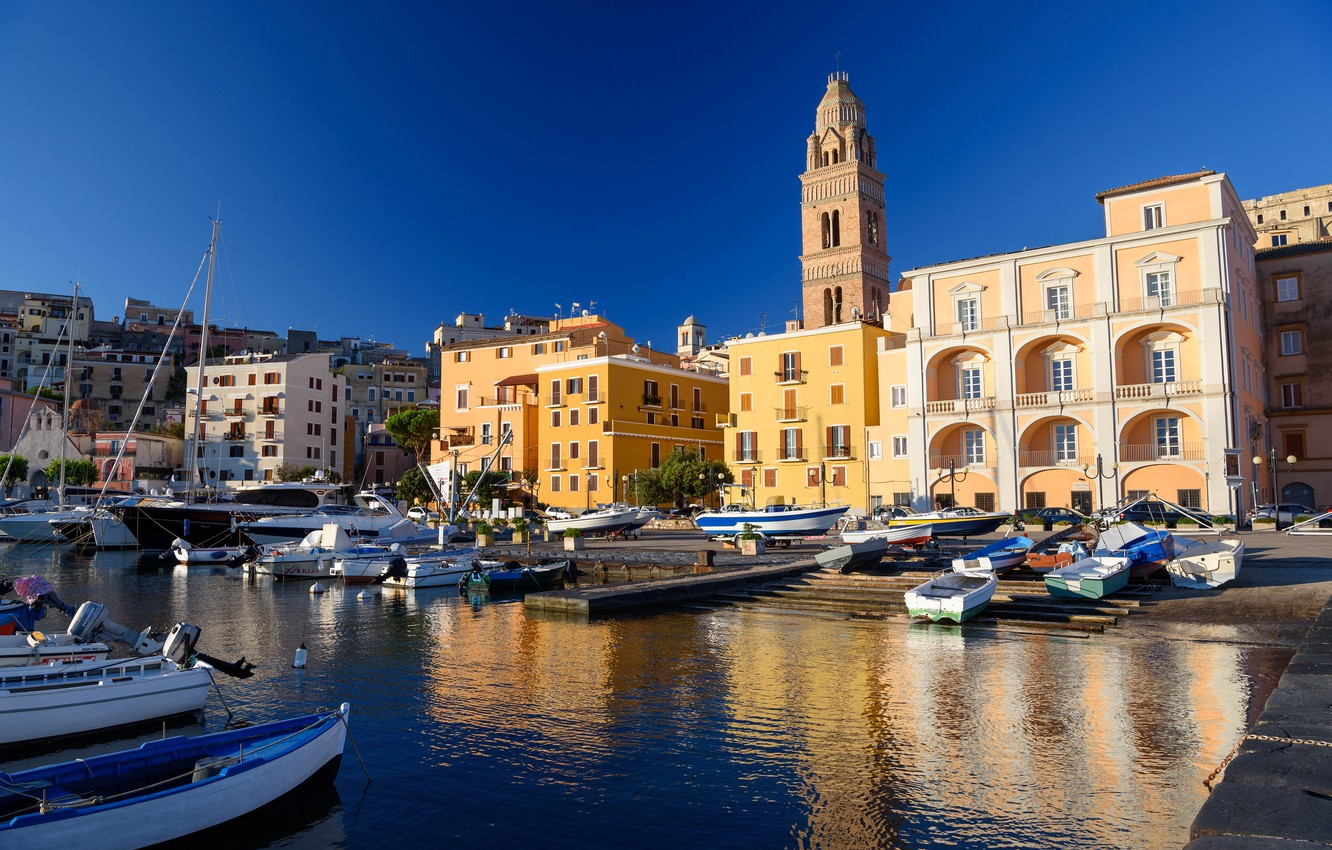 Photo wallpaper home, port, Italy, the bell tower, Gaeta