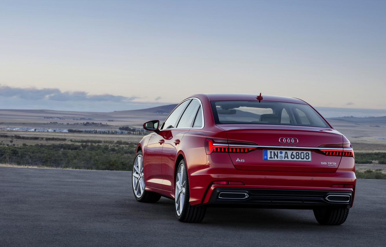 Photo wallpaper red, Audi, sedan, 2018, feed, four-door, A6 Sedan