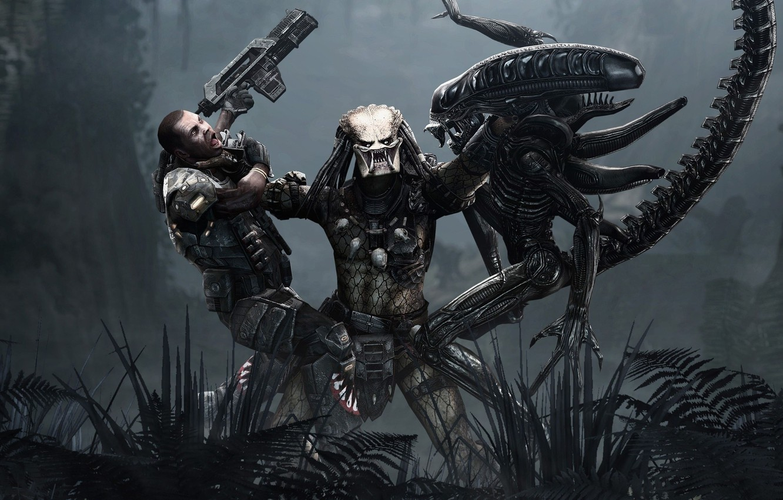Photo wallpaper The game, Stranger, Predator, 2010, Fiction, Aliens vs Predator, Game, SEGA, Rebellion Developments