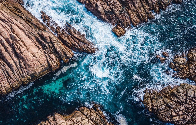 Photo wallpaper waves, sea, rocks, tide, aerial view, canal cross