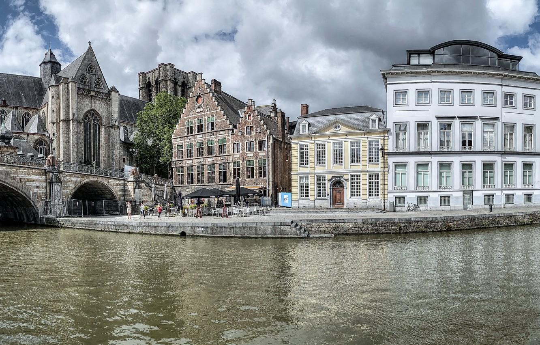 Photo wallpaper bridge, river, building, home, panorama, Belgium, promenade, Belgium, Ghent, Bridge St. Michael, Ghent, The River …