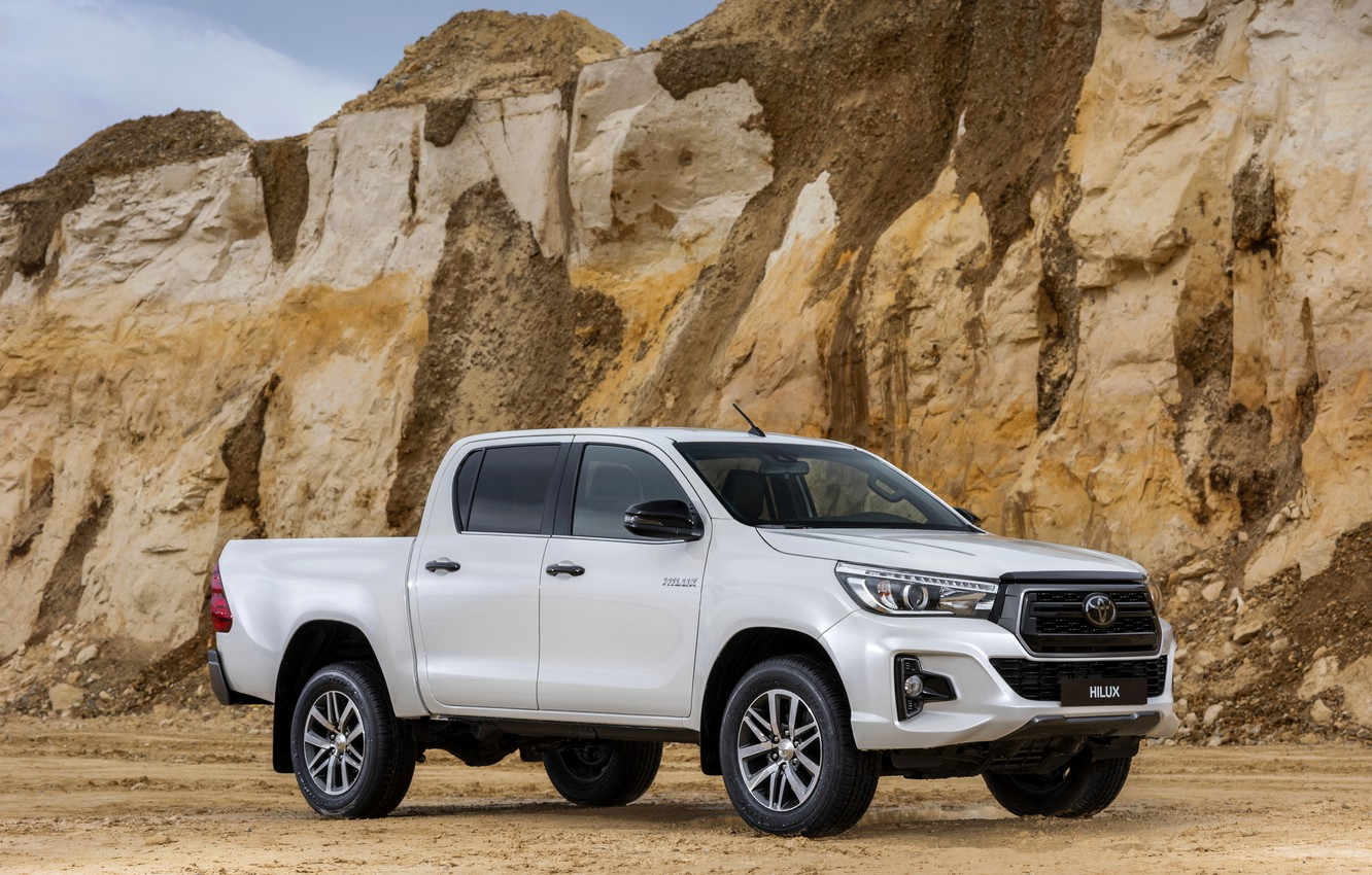Photo wallpaper white, Toyota, front, side, pickup, Hilux, Special Edition, 2019