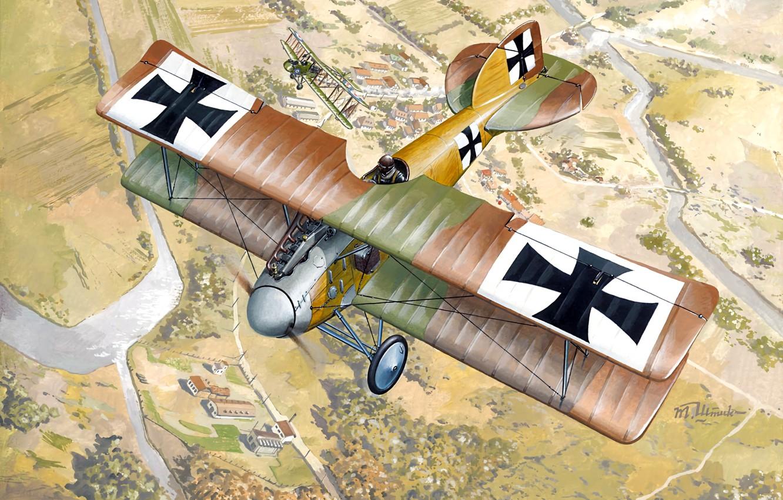 Photo wallpaper fighter, Biplane, WWI, Albatros, Albatros D. II, Air forces