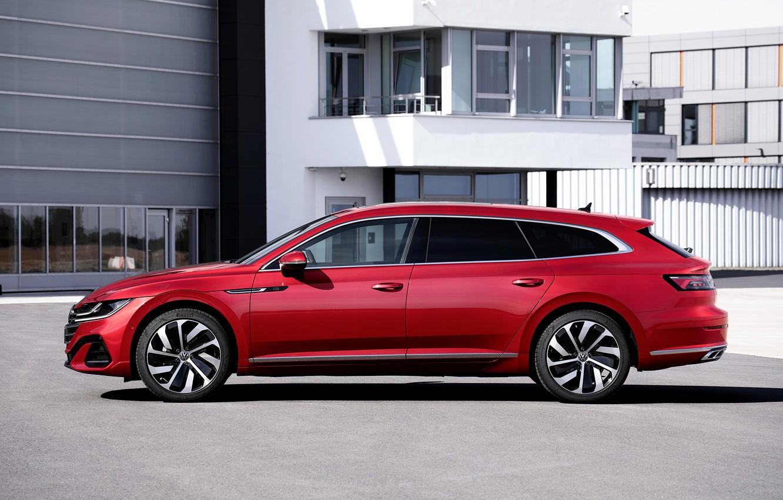 Photo wallpaper red, Volkswagen, universal, in profile, Shooting Brake, R-Line, 2020, Arteon, eHybrid