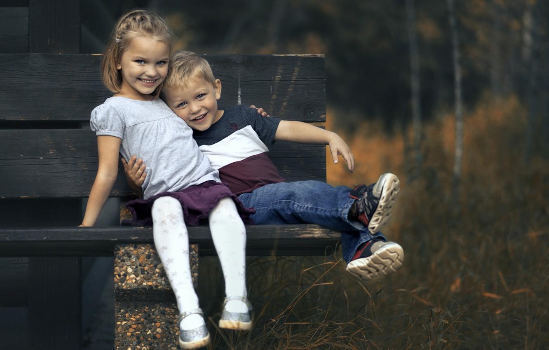 Photo wallpaper children, mood, bench