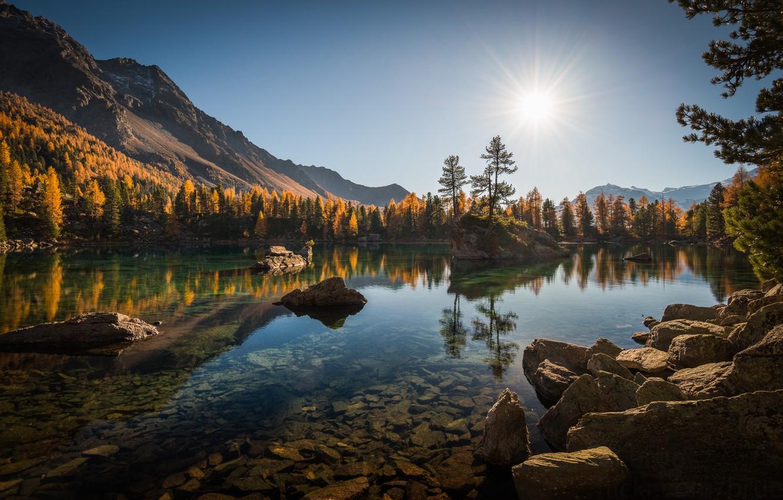 Photo wallpaper autumn, forest, trees, mountains, lake, reflection, stones, Switzerland, Alps, Switzerland, Alps, Lago di Saoseo, Poschiavo, …