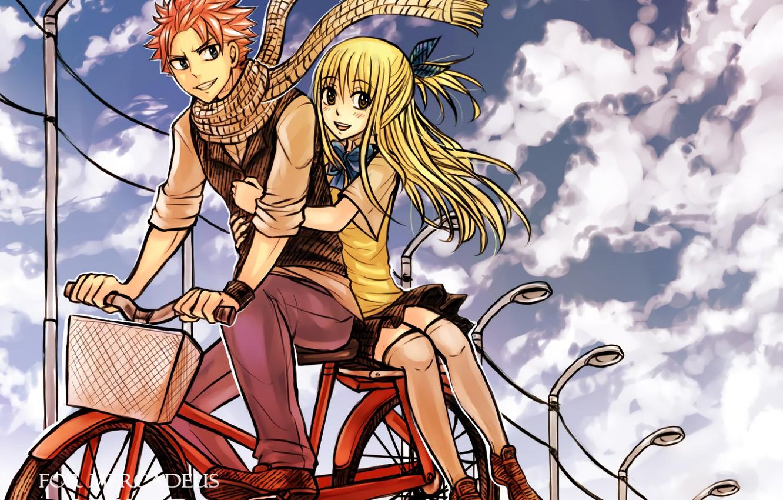 Photo wallpaper love, bike, anime, art, pair, fairy tail, Fairy Tail, Lucy, Natsu Dragneel