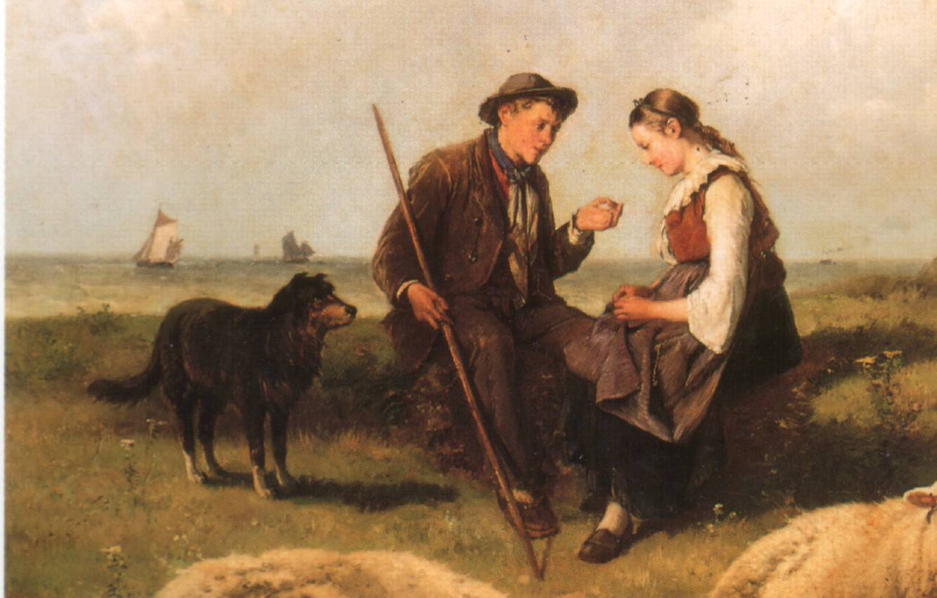 Photo wallpaper dog, pasture, a guy and a girl, THEODORE GERARD