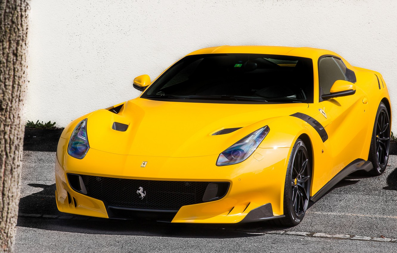 Photo wallpaper Ferrari, yellow, F12, TDF