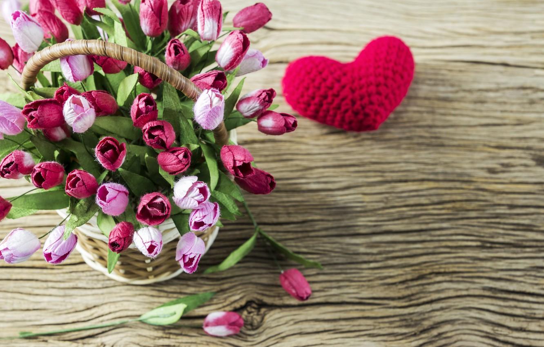 Photo wallpaper love, flowers, heart, tulips, love, pink, basket, vintage, heart, wood, pink, flowers, beautiful, romantic, tulips