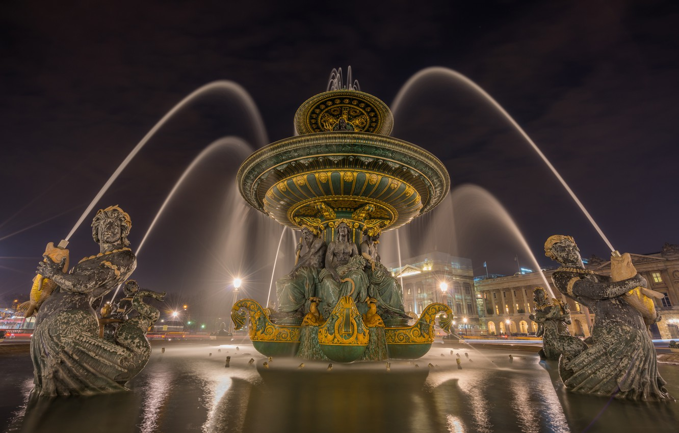 Photo wallpaper night, the city, lights, France, Paris, home, lights, fountain, Fountain of the Seas