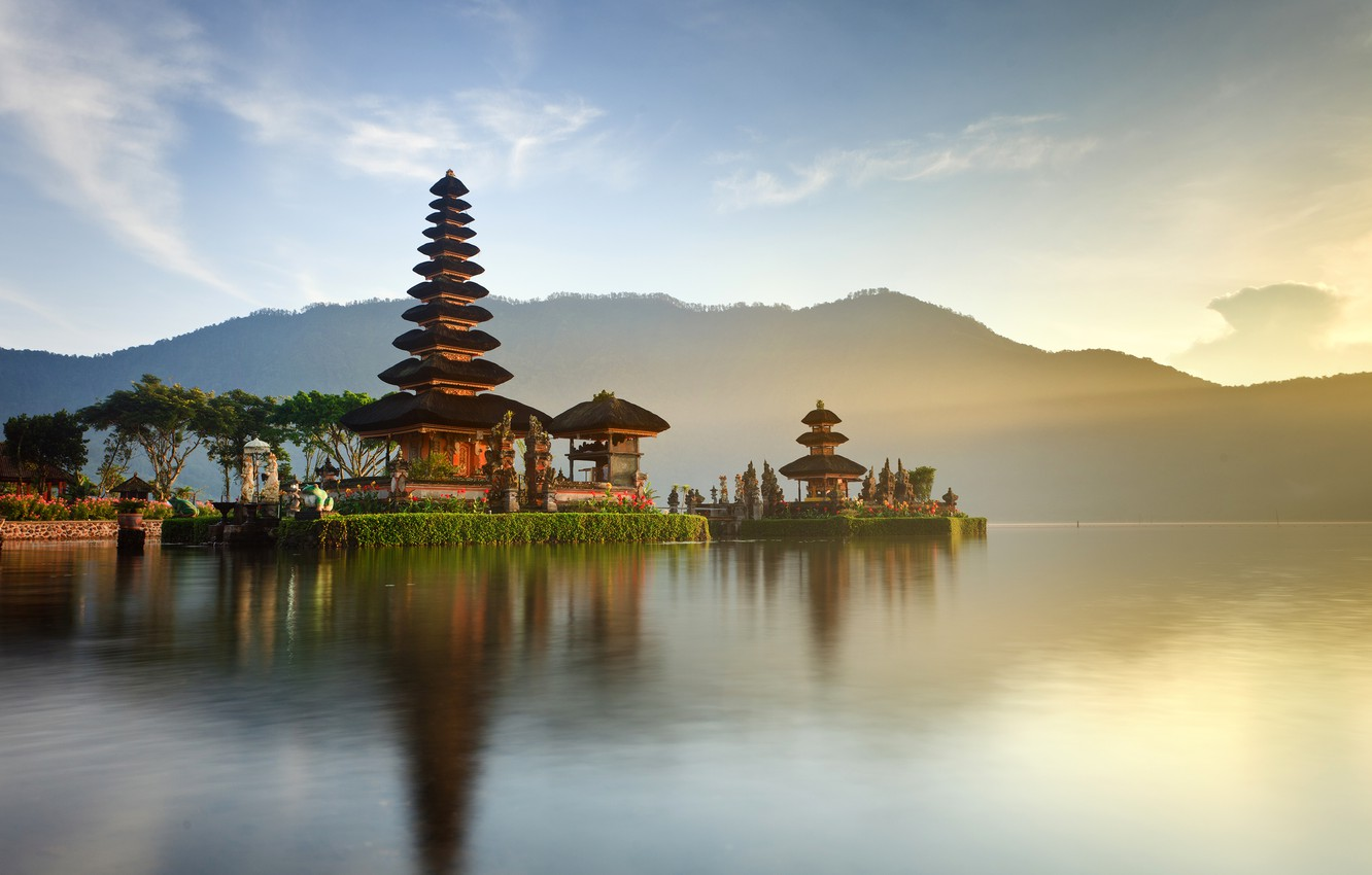 Photo wallpaper forest, the sky, the sun, clouds, trees, mountains, lake, shore, Indonesia, Church, temples, Bali, Indonesia, …