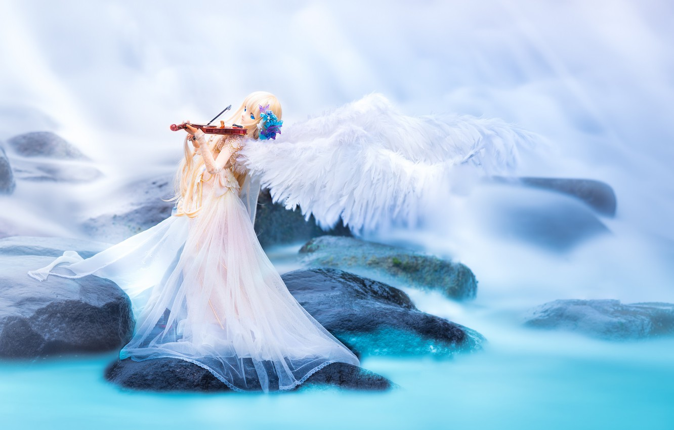 Wallpaper Water Stones Violin Toy Wings Doll Images For