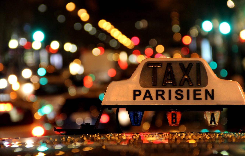 Photo wallpaper Lights, Night, Macro, Taxi