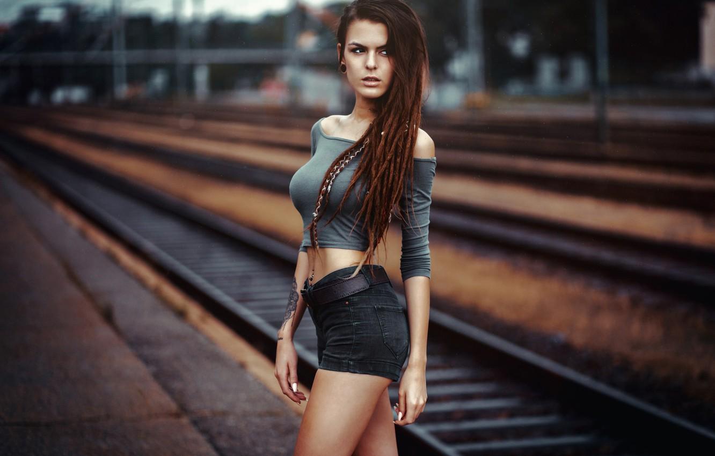 Photo wallpaper model, shorts, rails, portrait, makeup, Mike, figure, slim, piercing, tattoo, hairstyle, railroad, braids, brown hair, …