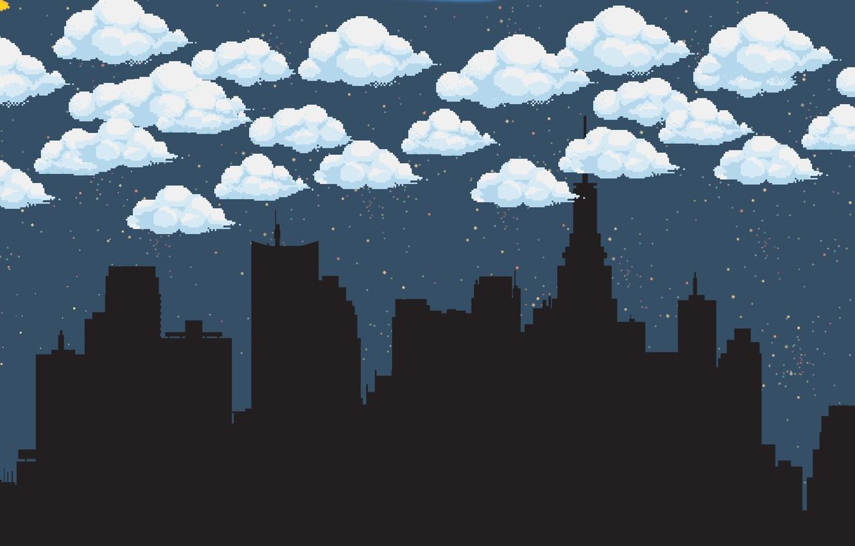 Wallpaper Clouds, Night, The city, Fantasy, Sky, Pixels
