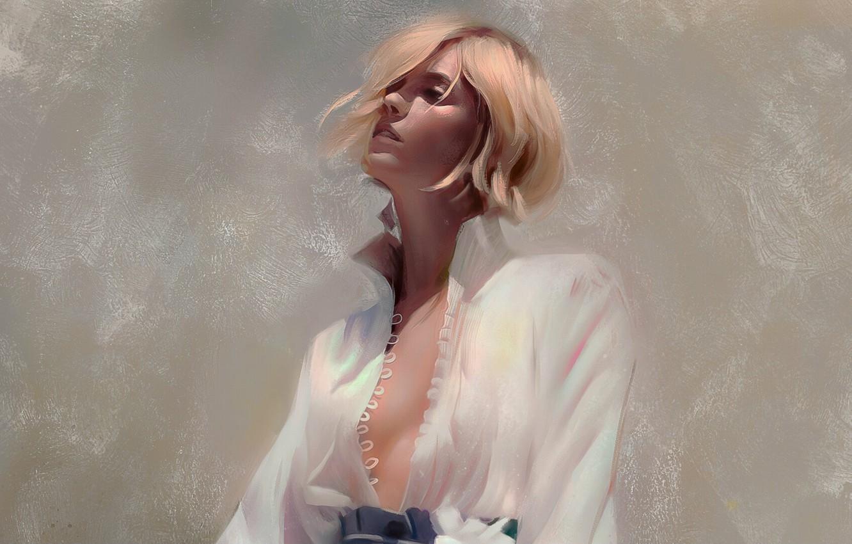 Photo wallpaper collar, grey background, portrait of a girl, white blouse, rasterdata, by Justine Florentino