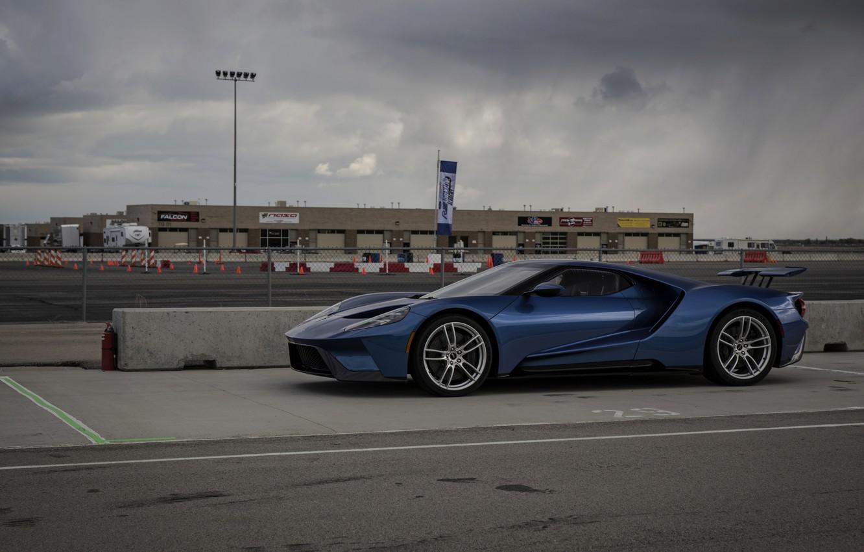 Photo wallpaper the sky, asphalt, blue, overcast, Ford, Ford GT