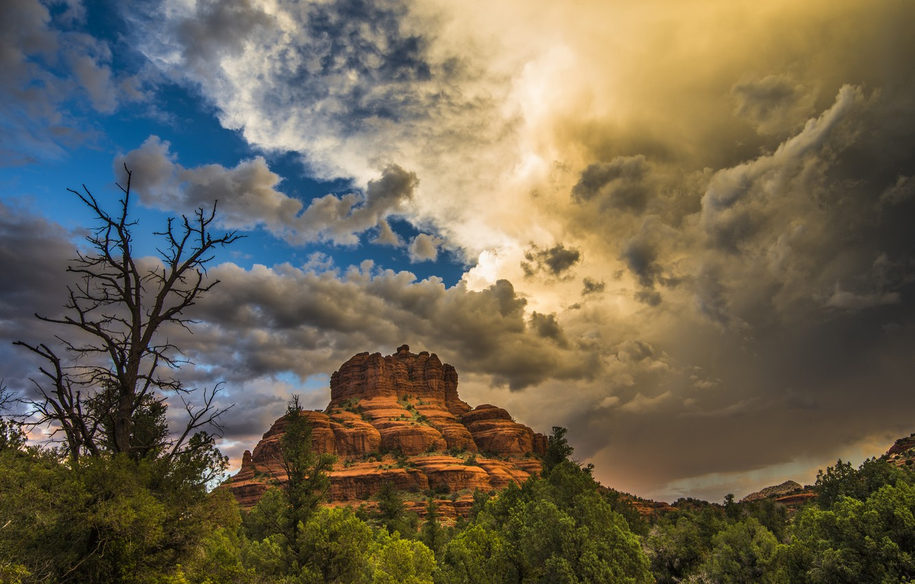 Photo wallpaper the sky, clouds, landscape, mountains