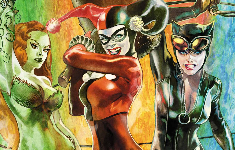 Photo wallpaper fantasy, girls, comics, cover, artwork, superhero, fantasy art, DC Comics, Catwoman, Harley Quinn, Poison Ivy, …