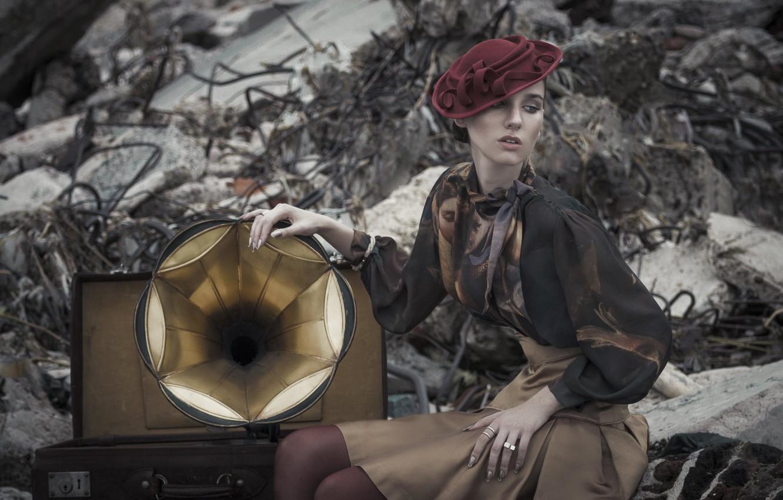 Photo wallpaper girl, style, gramophone