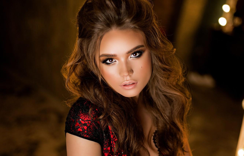 Photo wallpaper look, lights, background, portrait, makeup, hairstyle, brown hair, beauty, bokeh