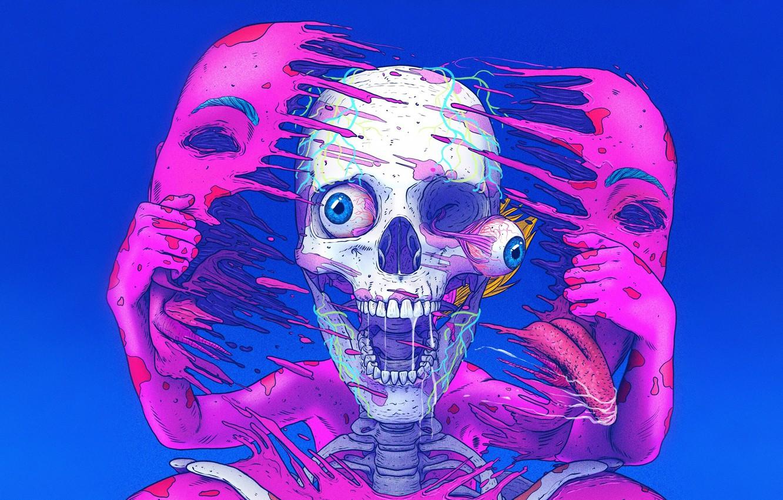 Photo wallpaper Color, Skull, Style, Face, Eyes, Fantasy, Creek, Style, Color, Fiction, Fiction, Skeleton, Illustration, Sci-Fi, Skeleton, …