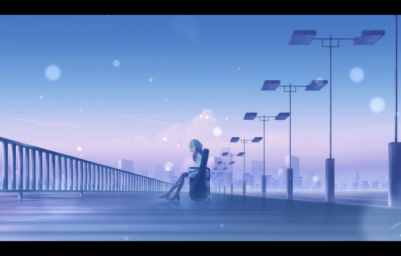 Photo wallpaper girl, bench, the evening