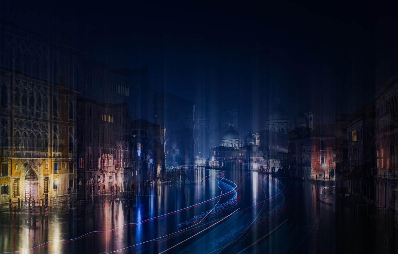 Photo wallpaper water, light, night, the city, the evening, Italy, Venice, channel