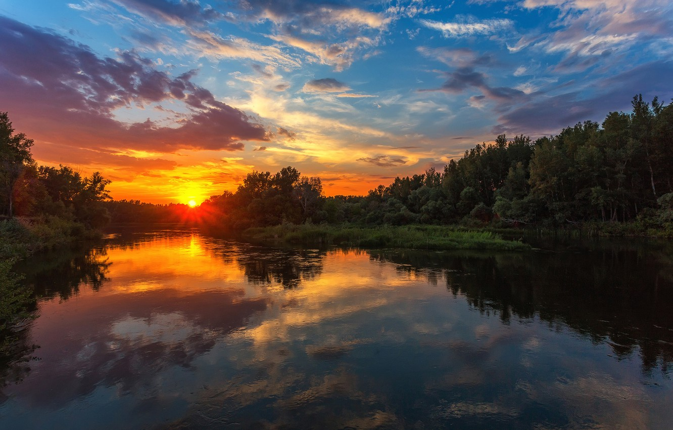 Photo wallpaper the sky, trees, sunset, reflection, river, Paul Sahaidak, the Ural river