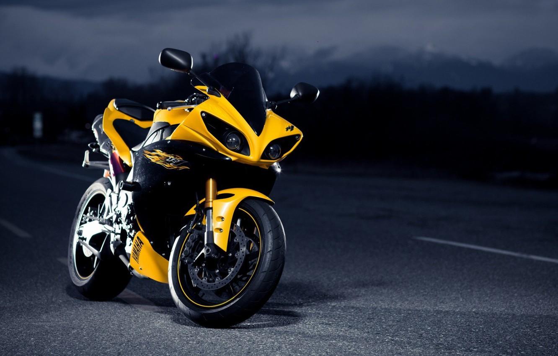 Photo wallpaper Race, Yamaha, Yellow, Bike, Sport, YZF-R1