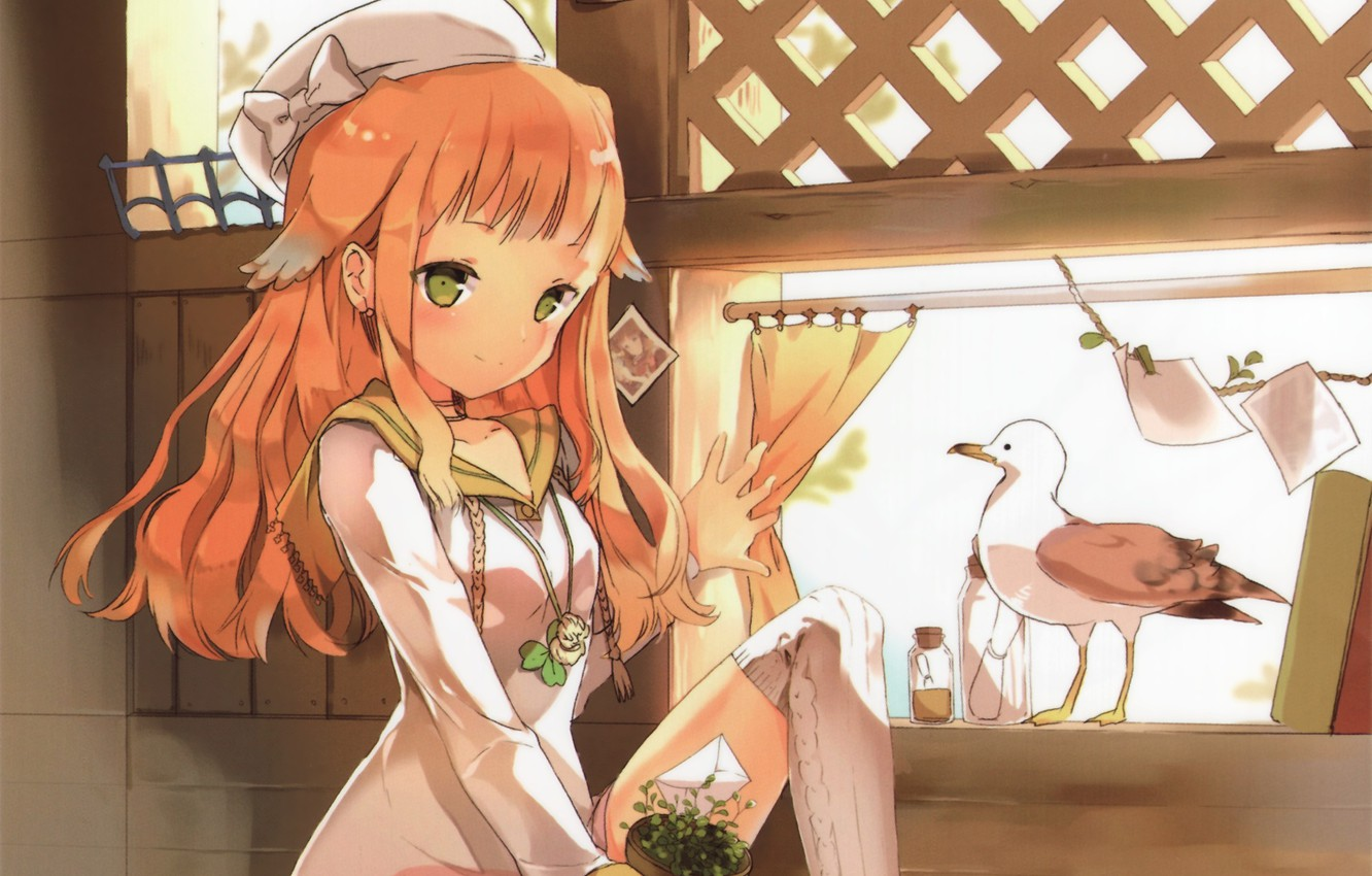 Photo wallpaper Seagull, girl, red hair, takes, green eyes, window, by Anmi