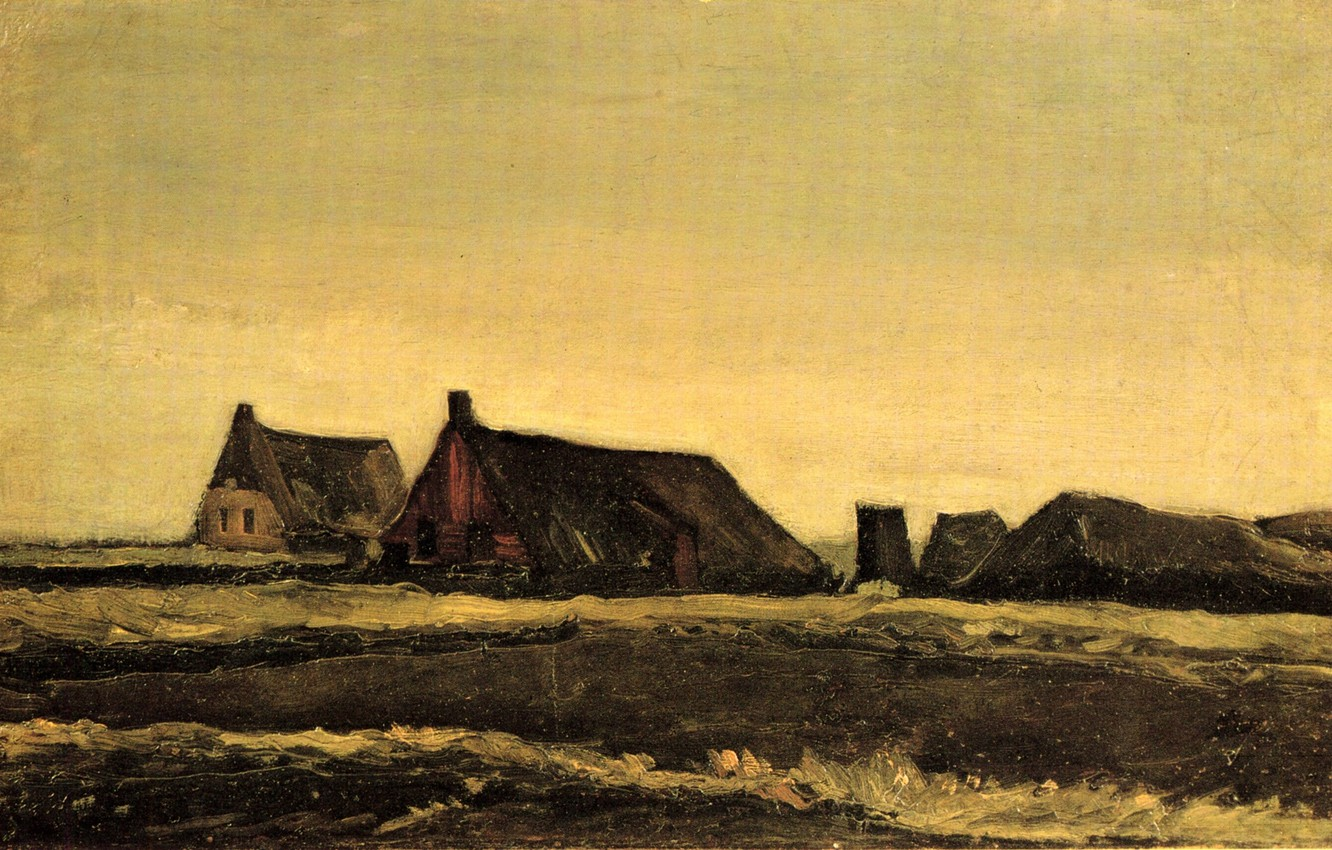 Photo wallpaper Vincent van Gogh, Early paintings, Cottages, houses