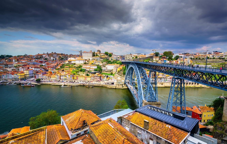 Photo wallpaper bridge, river, building, home, roof, panorama, Portugal, Portugal, Vila Nova de Gaia, Porto, Port, Vila ...