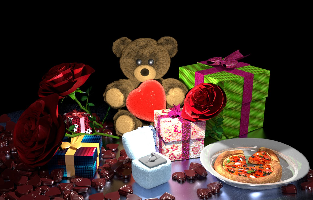 Photo wallpaper flowers, rendering, gift, chocolate, ring, art, bear, gifts, Valentine's Day, Valentine's week special, Bhabesh Roy …