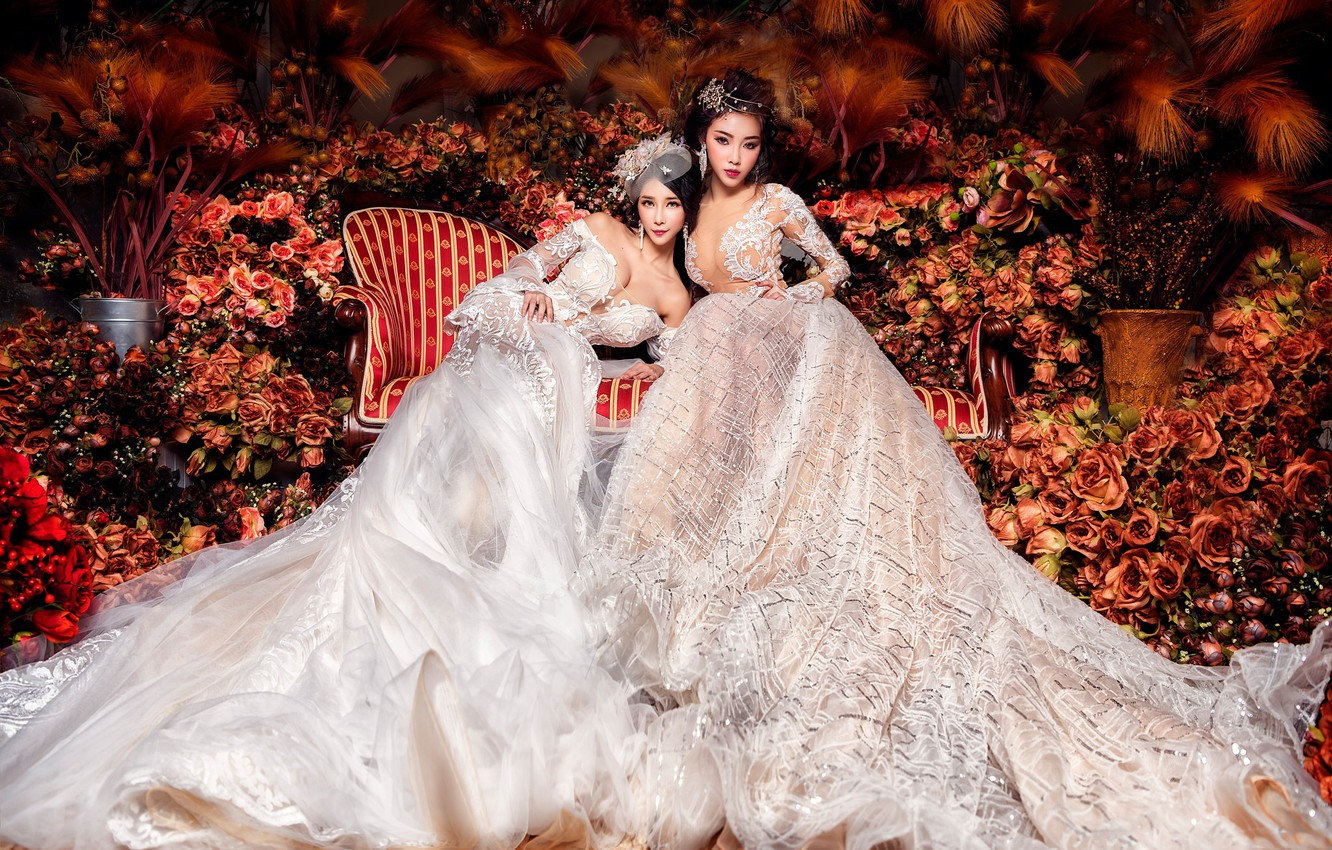 Photo wallpaper flowers, girls, sofa, two, roses, garden, outfit, white, Duo, luxury, a lot, Asian girls, beauty, …