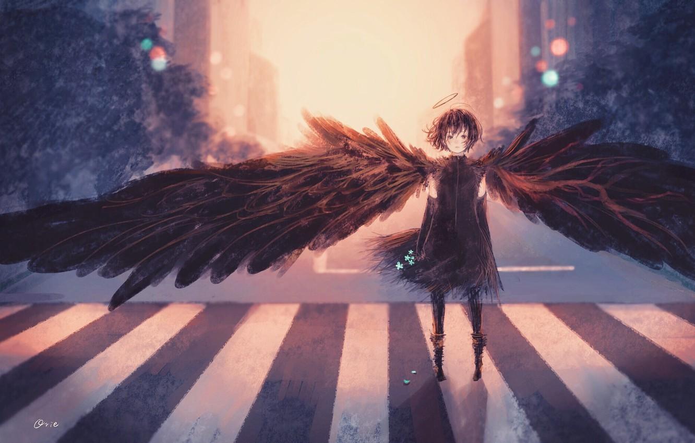 Photo wallpaper road, flowers, angel, fantasy, girl