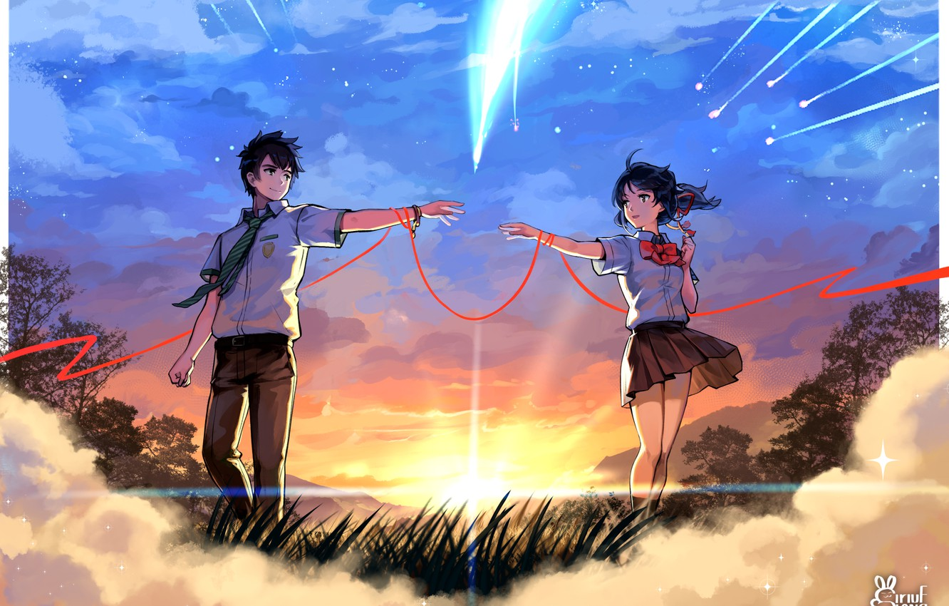 Photo wallpaper girl, clouds, sunset, the evening, art, comet, pair, guy, Your Name, Kimi No VA On
