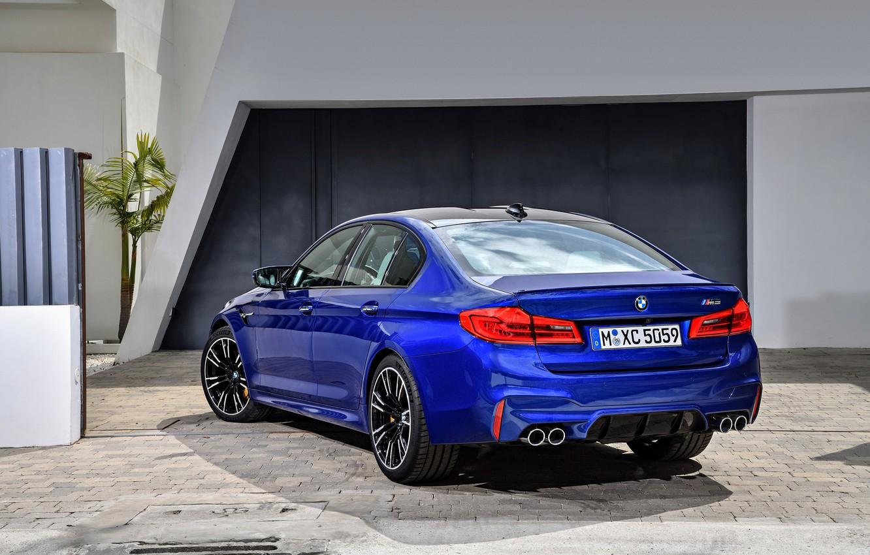 Photo wallpaper blue, wall, pavers, BMW, back, sedan, BMW M5, 2017, M5, F90