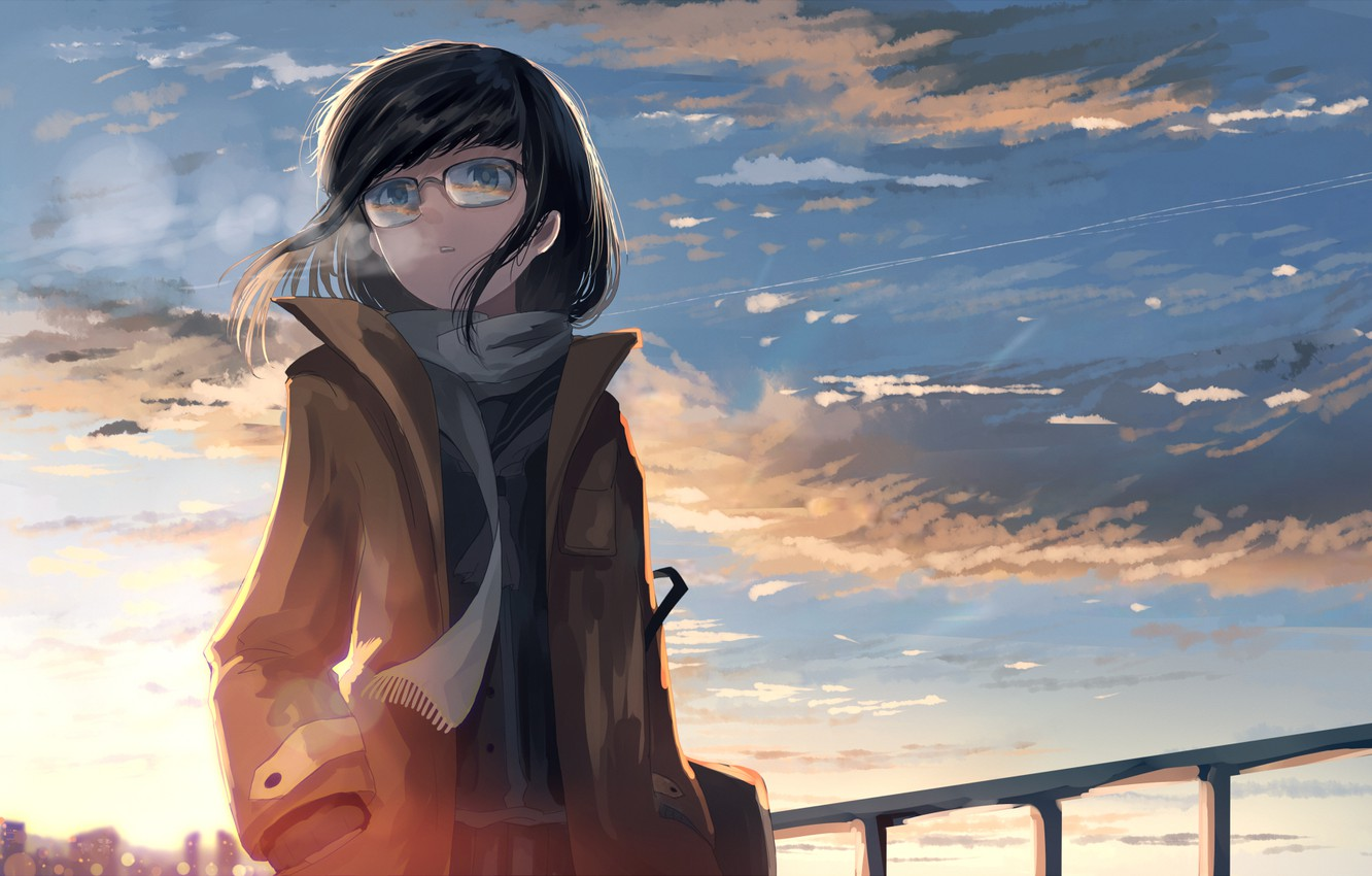 Photo wallpaper the sky, girl, the wind