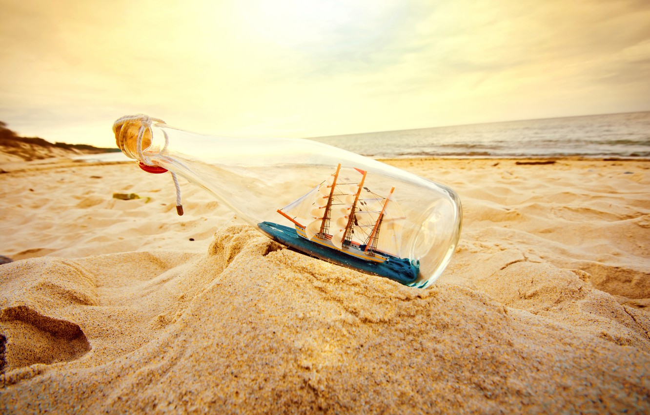 Photo wallpaper sand, beach, bottle