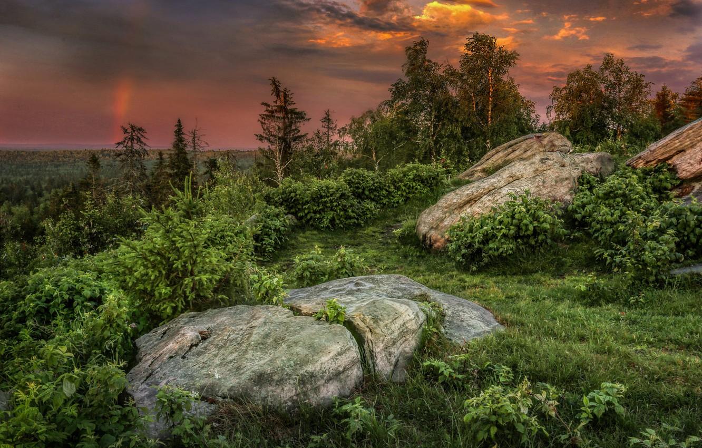 Photo wallpaper grass, trees, landscape, sunset, nature, stones, vegetation, the bushes, boulders, Ural, Perm Krai