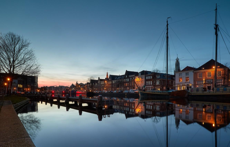 Photo wallpaper lights, the evening, Netherlands, Holland, Haarlem