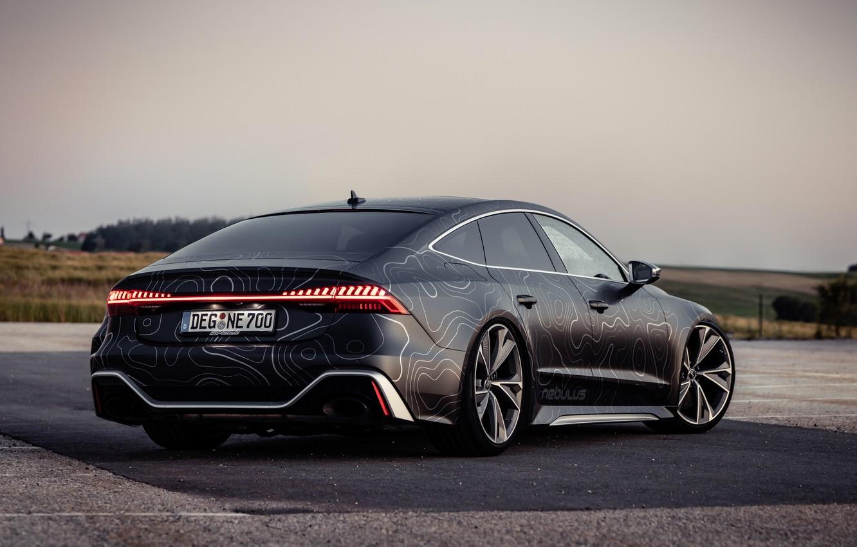 Photo wallpaper Audi, black, lights, RS 7, 2020, V8 Biturbo, RS7 Sportback, 4.0 L., 962 л.с., HGP …